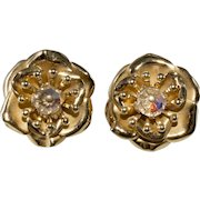 Napier Layered Flower Gold Plated Earrings Vintage 1950s