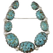 Napier 3.5 Inch Faux Turquoise Horseshoe Brooch Vintage 1950s