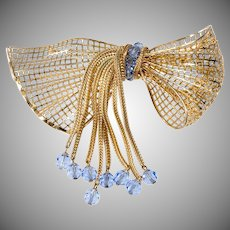 Napier LARGE Ribbon Bow Brooch with Blue Glass Bead Dangles Vintage