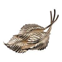 """Napier Brooch 4"""" HUGE Pin Leaves Gold Plated VTG 1950s Golden Leaf Spray"""