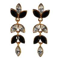 Napier Earrings Pierced Black Clear Rhinestones Dangles Vintage Black Tie