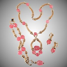 Napier Pink Glass Parure Necklace Bracelet Earrings Set Vintage