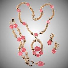 Napier Pink Glass Parure Necklace Bracelet Earrings Set Vintage