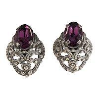 Napier Earrings 1950s Purple Rhinestones Baroque Filigree Silver Plated Clip Backs Vintage