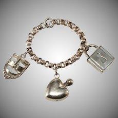 Napier Sterling Silver Charm Bracelet Vintage 1940s