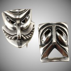 Napier Sterling Silver Comedy and Tragedy Tiki Mask Pin Clips Brooch Pair