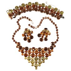 Ombre Parure Bib Necklace Bracelet Earrings Set Amber Brown Yellow Rhinestones