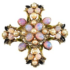 Maltese Cross Brooch Simulated Opal Cabochons Faux Pearls Vintage Pin 1960s