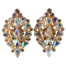Unmarked Iridescent Rhinestone Aurora Borealis Earrings to Match Orchid Brooch