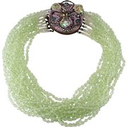 Ornella Italian 1950s Green Glass Bead Necklace Ornate Clasp