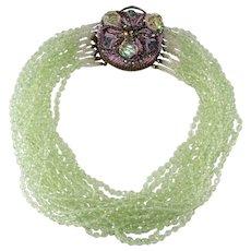 Ornella Italian 1950s Green Glass Bead Necklace Ornate Clasp
