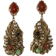 Ornella Italian 1960s Artsy Modernist Beaded Dangle Earrings
