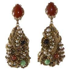 Ornella Italian 1960s Artsy Modernist Beaded Dangle Earrings