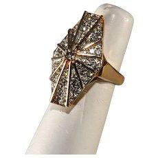 Panetta Rhinestone Mod Web Ring Size 6 Vintage