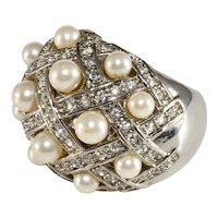 Dome Cocktail Ring Faux Pearls Rhinestones Size 7 Unmarked