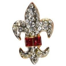 Petite Fleur de Lis Pin Red Clear Rhinestones Brooch Lapel