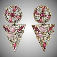 LARGE 1980s Pink Rhinestone Dangle Earrings