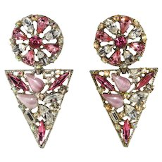 LARGE 1980s Pink Rhinestone Dangle Earrings