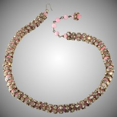 Pink Bead and Rhinestone Rondelle Rope Necklace Vintage