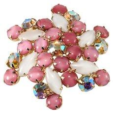 Pink Cabochon Iridescent Rhinestone Brooch Pin Pinwheel Vintage