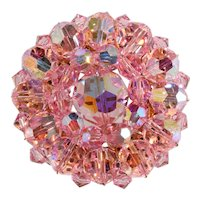 Brooch Pink Crystal Beads Vintage 1960s Pin Unmarked