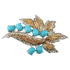Polcini Turquoise Glass and Clear Rhinestone Brooch Pin Vintage