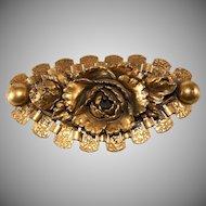 Pomerantz LARGE Rose Bookchain Brooch Pin Vintage 1930s