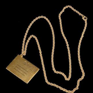 Return to Postcard Pendant Necklace Brass Vintage