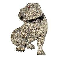 Brooch 1930s Pot Metal Bulldog Pin Clear Rhinestones Vintage Dog