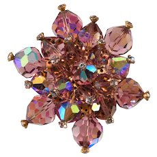 Purple Bead and Rhinestone Cluster Brooch Pin Vintage
