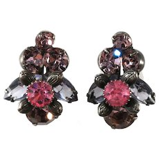 Purple and Pink Rhinestone Earrings Vintage 1950s