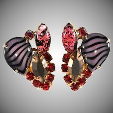 Purple Black and Pink Art Glass Earrings with Red Rhinestones
