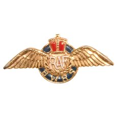 RAF British War Relief Society Pin English Royal Air Force Vintage 1940s Militaria Accessocraft Wings Crown
