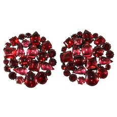 Pair of 2 Inch Red Pink Rhinestone Collage Brooches Set
