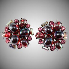 Red and Pink Oil Slick Cabochon Rhinestone Earrings Vintage