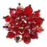 Red Crystal Bead Brooch Rhinestones Pin Vintage
