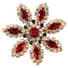 Red and Iridescent Rhinestone Flower Brooch Pin Vintage