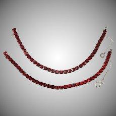 Pair of Sterling Silver Line or Tennis Bracelets with Red Rhinestones Vintage