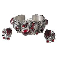 1950s Red Rhinestone Silver Plated Hinged Cuff Bracelet Earrings Set