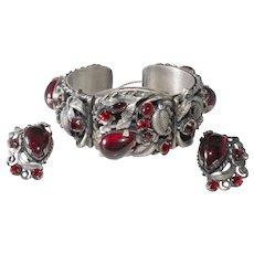 1950s Red Rhinestone Silver Plated Hinged Cuff Bracelet Earrings Set