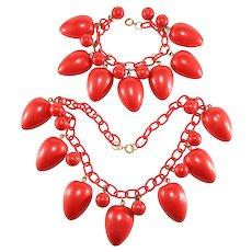 Necklace Bracelet Set Red Painted Wood Celluloid Chain Vintage