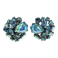 Regency Earrings Blue Art Glass Cabochons Rhinestones Vintage