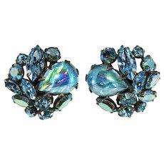 Regency Earrings Blue Art Glass Cabochons Rhinestones Vintage