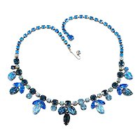 Regency Necklace Blue Leaf Glass Rhinestones Vintage