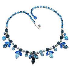 Regency Necklace Blue Leaf Glass Rhinestones Vintage