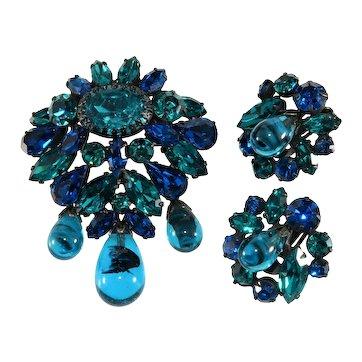 Regency Set Brooch Earrings Blue Rhinestones Dangles Vintage