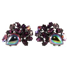 Regency Purple Oil Slick Cabochon Rhinestone Earrings Vintage