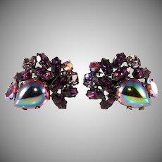 Regency Purple Oil Slick Cabochon Rhinestone Earrings Vintage