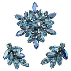 Regency Brooch Earrings Set Blue Rhinestones Pin Vintage Demi Parure
