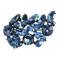 Regency Brooch Blue Rhinestones Spray Pin Vintage